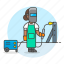 building, engineer, factory, female, machine, metal, steel, structure, welder, welding icon