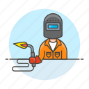 1, blowtorch, builder, factory, machine, man, welder, welding, worker icon