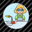 2, blowtorch, builder, factory, machine, welder, welding, woman, worker icon
