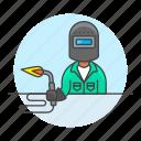 3, blowtorch, builder, factory, machine, man, welder, welding, worker icon