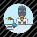 blowtorch, builder, factory, machine, man, welder, welding, worker icon