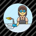 blowtorch, builder, factory, machine, welder, welding, woman, worker icon