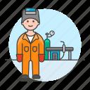 1, equipment, factory, gear, helmet, machinery, male, station, welder, welding, worker icon