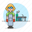 2, equipment, factory, female, gear, helmet, machinery, station, welder, welding, worker icon