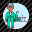 3, equipment, factory, gear, helmet, machinery, male, station, welder, welding, worker icon