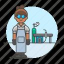 equipment, factory, female, gear, helmet, machinery, station, welder, welding, worker icon
