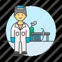 equipment, factory, gear, helmet, machinery, male, station, welder, welding, worker icon