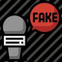 microphone, fake, news, untrue, report, interview