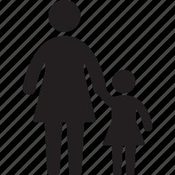 children, familiar, family, girl, mom, mother icon