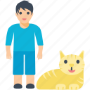 boy, happy pets, pet cat, pets, young boy icon