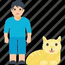 boy, happy pets, pet cat, pets, young boy icon