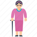 aged woman, grand mother, old, old age, oldness icon