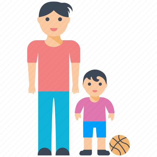 father love, father son, football, fun time, play time icon