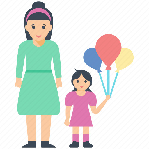 daughter love, fun time balloons, mother daughter, mother love icon