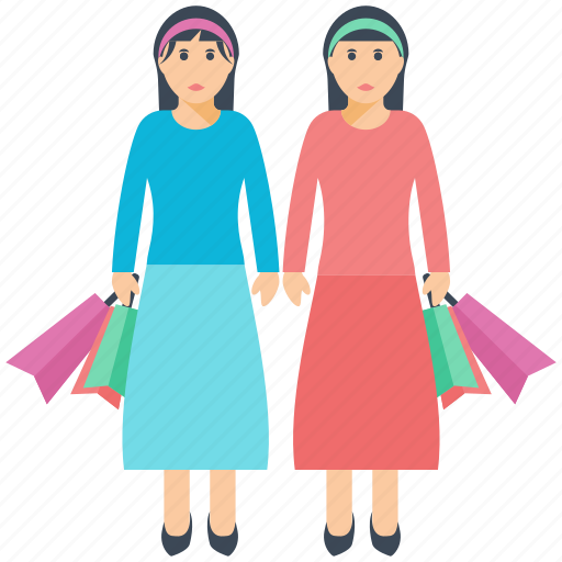 friends, ladies, ladies shopping, shopping bags, shopping love icon