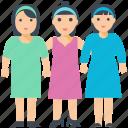 girls, women, sisters love, female friends, triplet, sisters