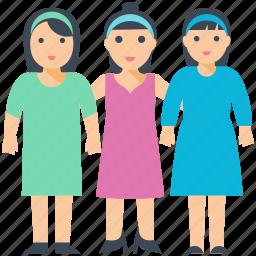 female friends, girls, sisters, sisters love, triplet icon