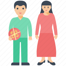 couple goals, gift exchanging, happy couple, husband wife, partners icon