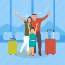 family, only child, parents, single child, vacation time icon