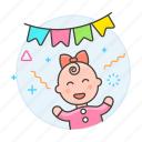 1, baby, banner, celebration, family, female, girl, happy, infant, party, pennant icon