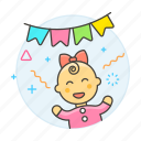 2, baby, banner, celebration, family, female, girl, happy, infant, party, pennant icon