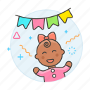 3, baby, banner, celebration, family, female, girl, happy, infant, party, pennant icon