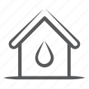 aqua home, eco home, home water, real estate, water supply icon