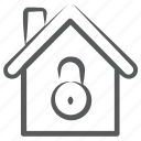 home lock, home protection, home security, house lock, house safety icon