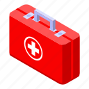 aid, cartoon, family, first, isometric, kit, medical icon