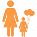 balloons, children, enhance, family, father, girl icon