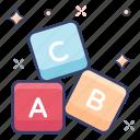 abc block, alphabet block, education, english, kindergarten icon