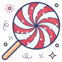 candy stick, confectionery, lollipop, lolly, sugar candy, swirl lollipop icon