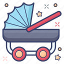 baby transport, baby buggy, baby carriage, pram, stroller, baby cart icon