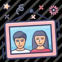 hanging photo, couple photo, photo, photo frame, picture, portrait icon