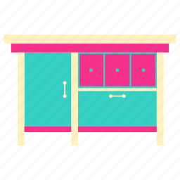 cabinet, cupboard, home, house, living, room icon