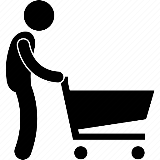 man, sales, shopper, shopping, supermarket, trolley icon