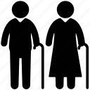 grandmother, old man, old ages, elderly, old couple icon