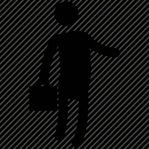 handbag, man, man with bag, men, silhouette, standing icon