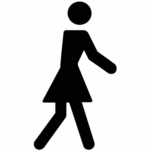 familiar, female, girl, silhouettes, walking, woman icon