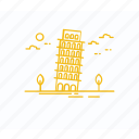 architecture, italy landmark, leaning tower, pisa tower, world landmark icon