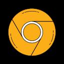 browser, chrome, googlechrome, internet, logo, orange, web icon