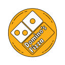 domino, food, logo, meal, orange, pizza icon
