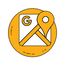 logo, maps, orange icon