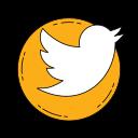 communication, logo, media, orange, social, twetter icon