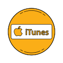 apple, itunes, logo, orange icon
