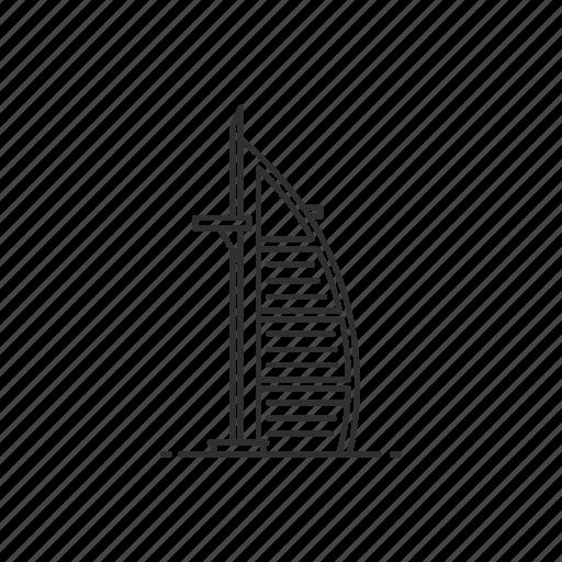 arab, building, burj al arab, dubai, famous, landmark, uae icon
