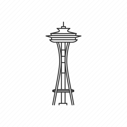 building, famous, landmark, needle, seattle, space needle, tower icon