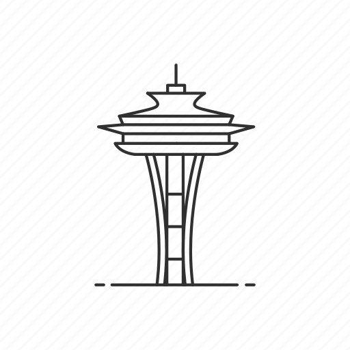 architecture, building, famous, landmark, seattle, space needle, tower icon