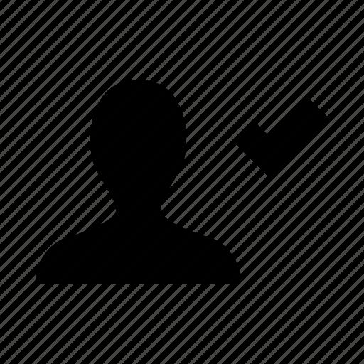 account, avatar, check, person, user, verified, verify icon
