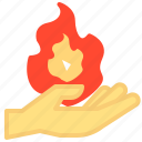 fire, hand, holding, mage, magic, summon icon